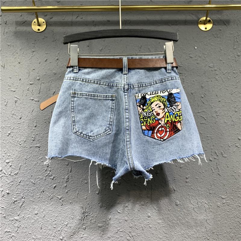 stripe contrast raw hem ripped denim shorts Style Frayed Ripped Raw Hem Denim Shorts Female High Waist Jean Shorts Hot Pants for Women Clothings Summer