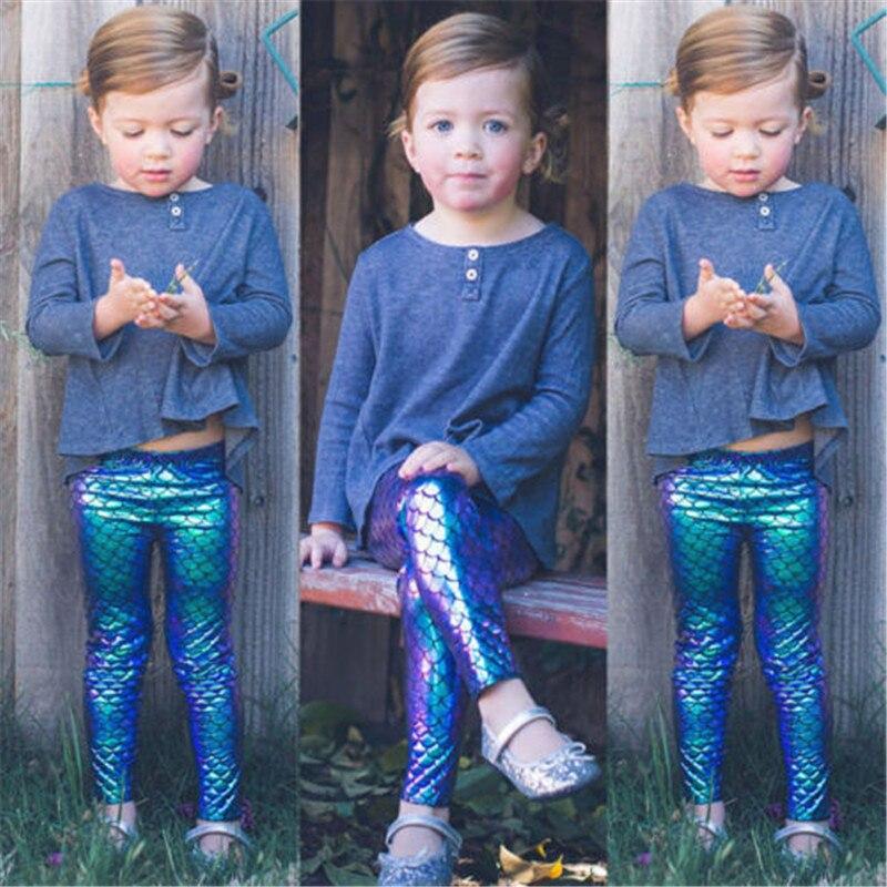 Dropshipping criança do bebê meninas calças da criança sereia peixe-escala leggings pant elástico lápis calças