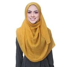 Winter Women's Scarf Muslim Hijab Scarves  Plain Colours Cotton Viscose with Shinny Thread Pliad Hijab Scarves