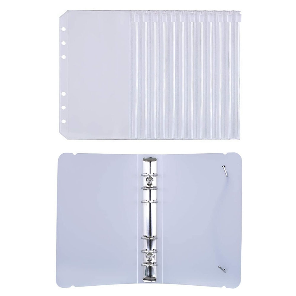 A6 Clear Plastic Binder Pockets 4 1/5 x 6 3/4 Loose Leaf Bags Organizer Cash Budget Envelope System, with Clear Binder Cover