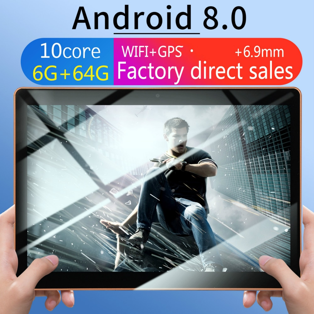 Novedad de 10,1 pulgadas, ocho núcleos, 6G + 64G/128G, Android 8,0, tarjeta Dual, cámara Dual, WiFi, llamada trasera, tableta, teléfono móvil, WiFi, llamada
