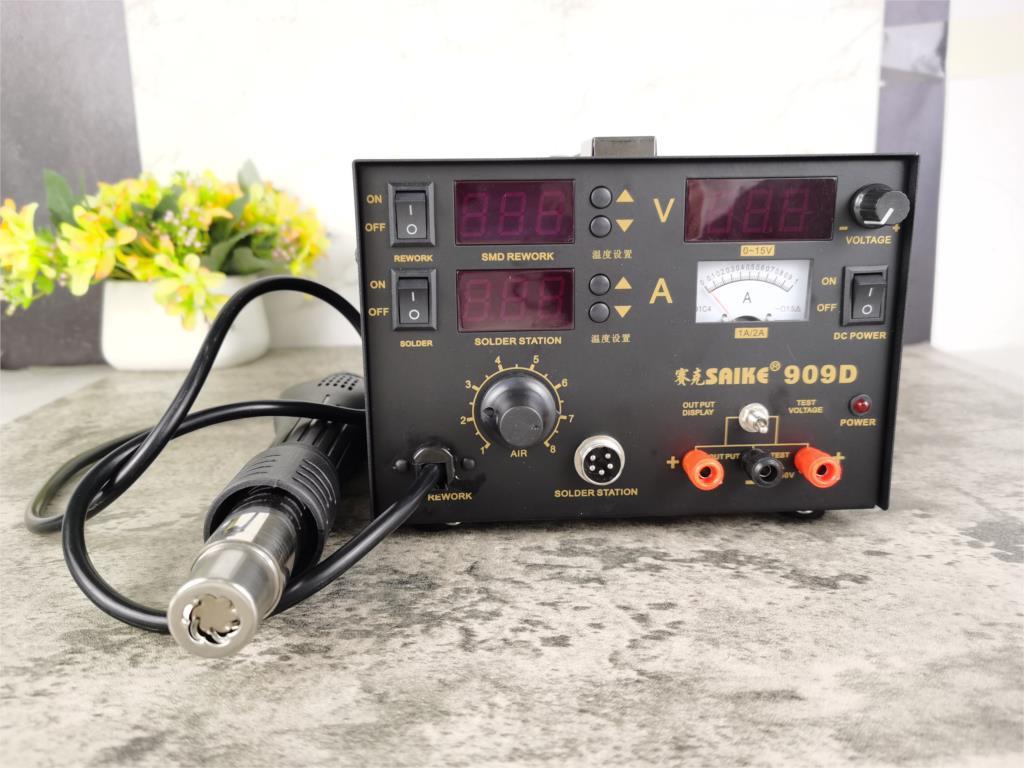 saike 909D 3 in 1 Hot air gun rework station Soldering station dc power supply 220V or 110V  US EU enlarge