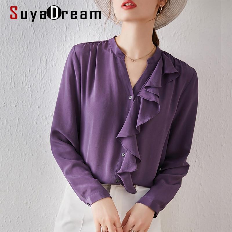 SuyaDream Silk Solid Blouses Woman 100%Silk Long Sleeves V neck Ruffles Blouse Shirt Spring Autumn Purple Chic Shirt army green v neck half sleeves curved hem blouses