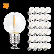25PCS G40 1W LED String Light Replacement Bulb E12 220V 110V Warm White 2700K LED Lamp Replace For Home Garden Incandescent Bulb