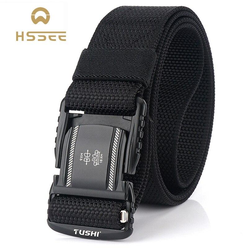 HSSEE Hard Metal Simple Convenient Tactical Belt Soft Genuine Nylon Military Belt Tough Non-Slip Men's Hunting Fishing Belt