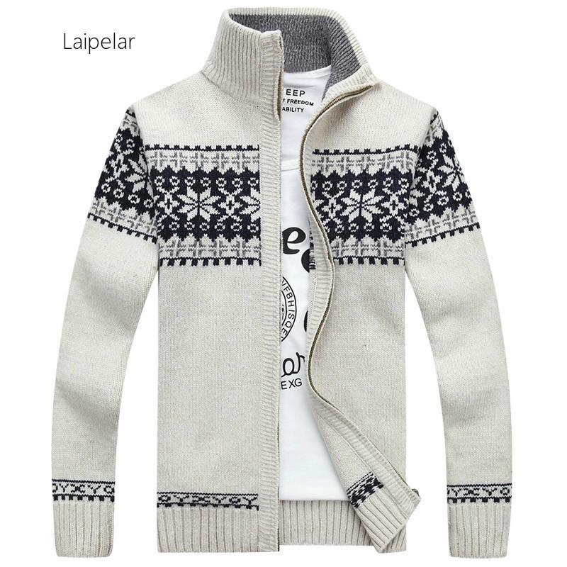 Мужские кардиганы Laipelar, свитера, новая осенне-зимняя повседневная одежда с воротником-стойкой для мужчин, свитер на молнии, теплый вязаный с...