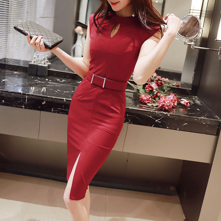 Summer New Dress Sexy Royal Sister Style French Age Reduction Knee Long Skirt OL Professional Slim Hip