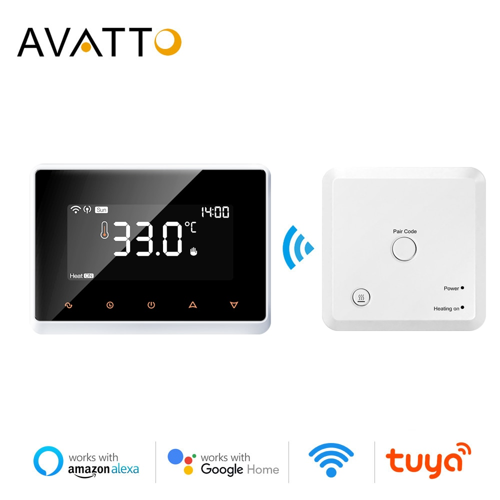AVATTO Wifi الذكية ترموستات ، Tuya RF اللاسلكية تحكم في درجة الحرارة للغاز المرجل تسخين المياه ، يعمل مع اليكسا جوجل الرئيسية