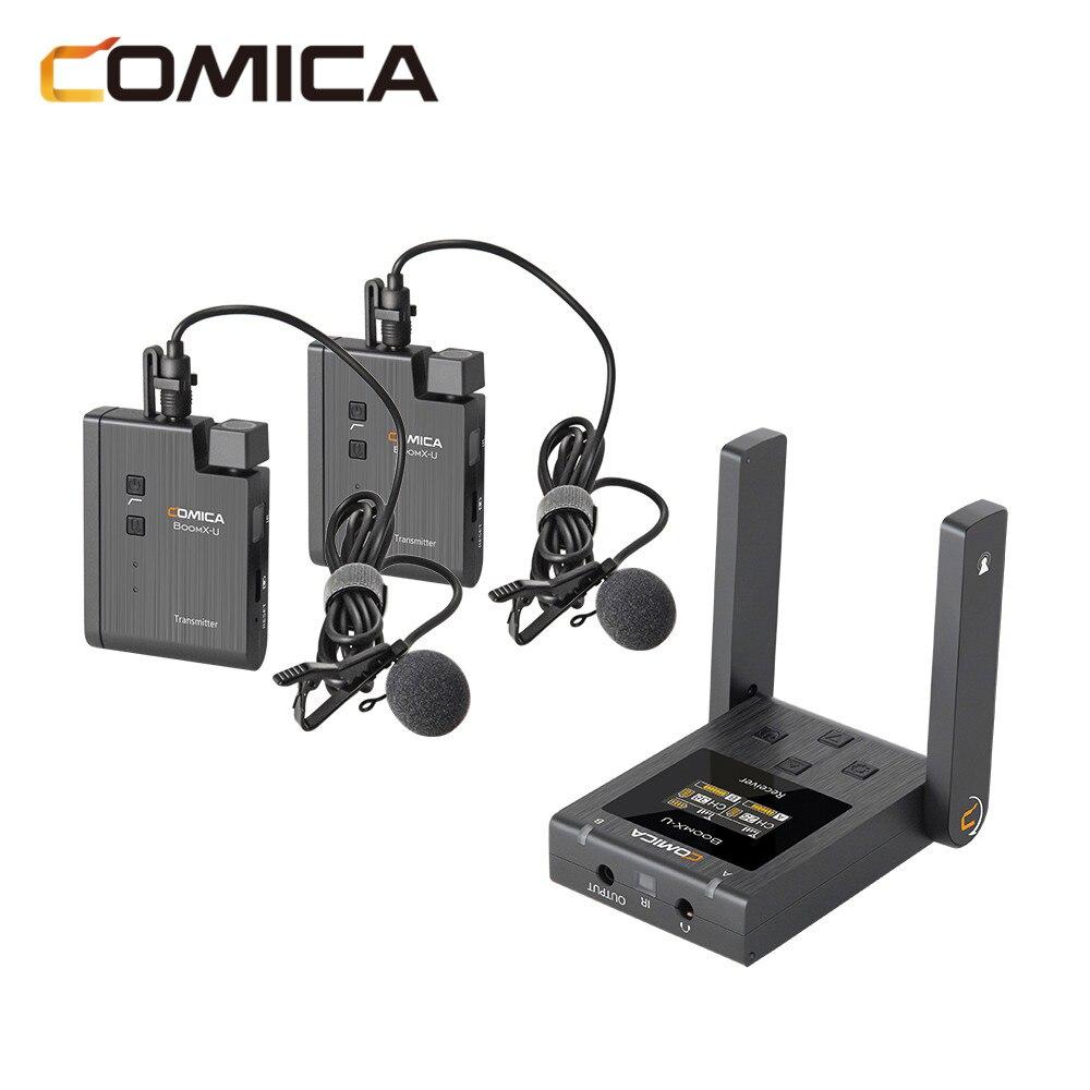 Comica BoomX BoomX-U U1 U2 ميكروفون لاسلكي مستوى البث ميكروفون صغير UHF عدة استقبال لكاميرا الهاتف DSLR