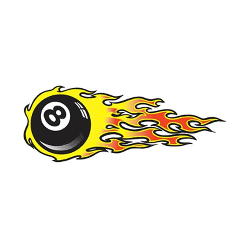 Купить с кэшбэком Vinyl Car stickers Decals Motorcycle Accessories Car-Window Decorative Goods PVC Flame 8 ball 15cmx7cm