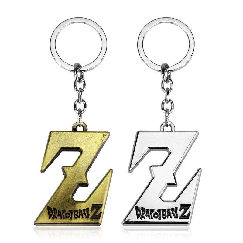 Llavero con Logo de Dragon Ball Z de tendencia llavero Super Saiyan Son Goku aleación Z letra llavero con anilla colgante Vintage Anime joyería regalo