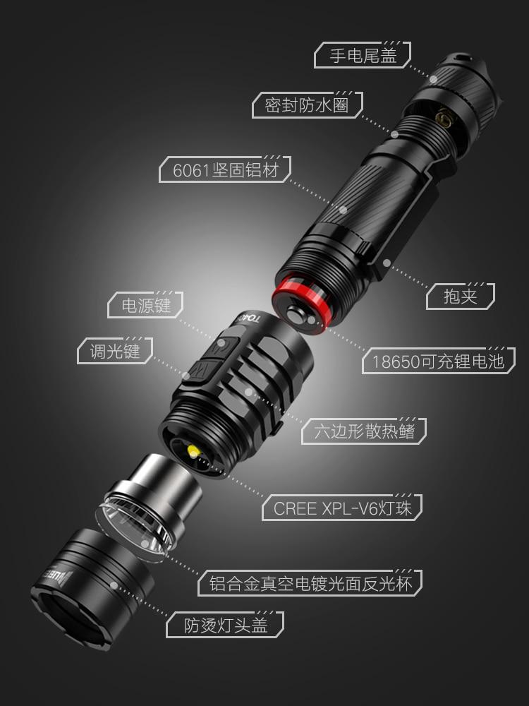 Mini Led Flashlight Pocket Clip Aluminum Alloy Black Flashlights Adjustable Hard Light Camping Lanterna Portable Lighting EB50SD enlarge
