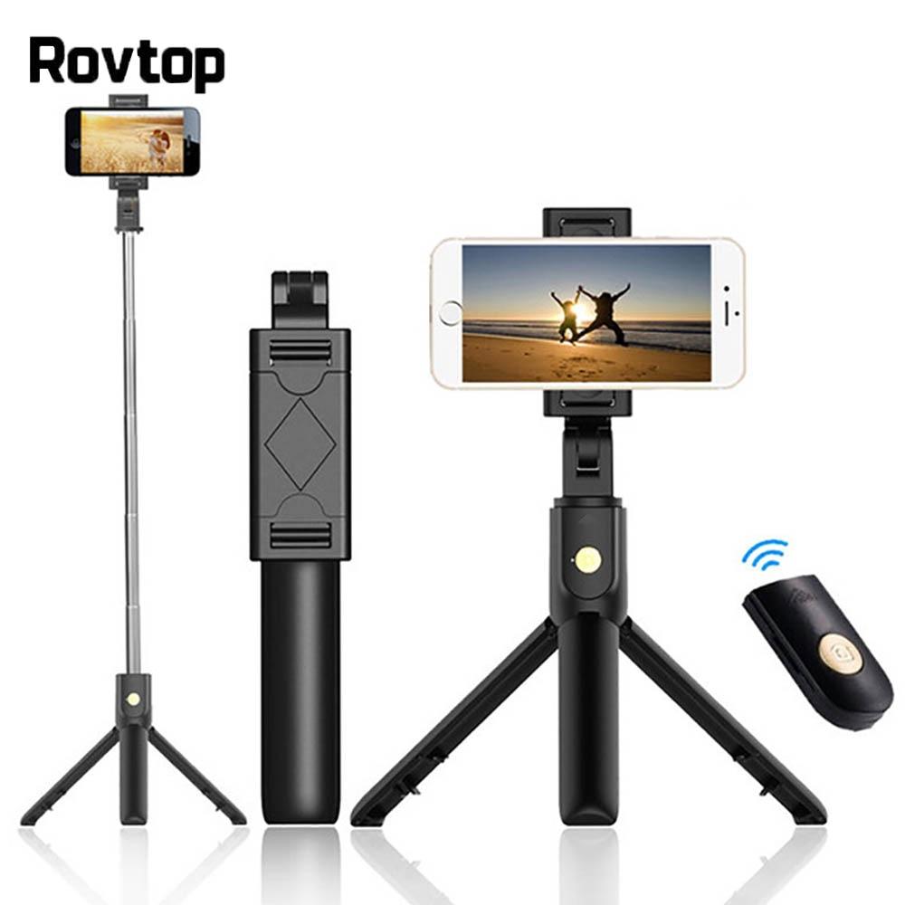 Rovtop de palo de Selfie Bluetooth trípode Control remoto Monopod para iPhone Mini trípode soporte de teléfono para Samsung Huawei Gopro