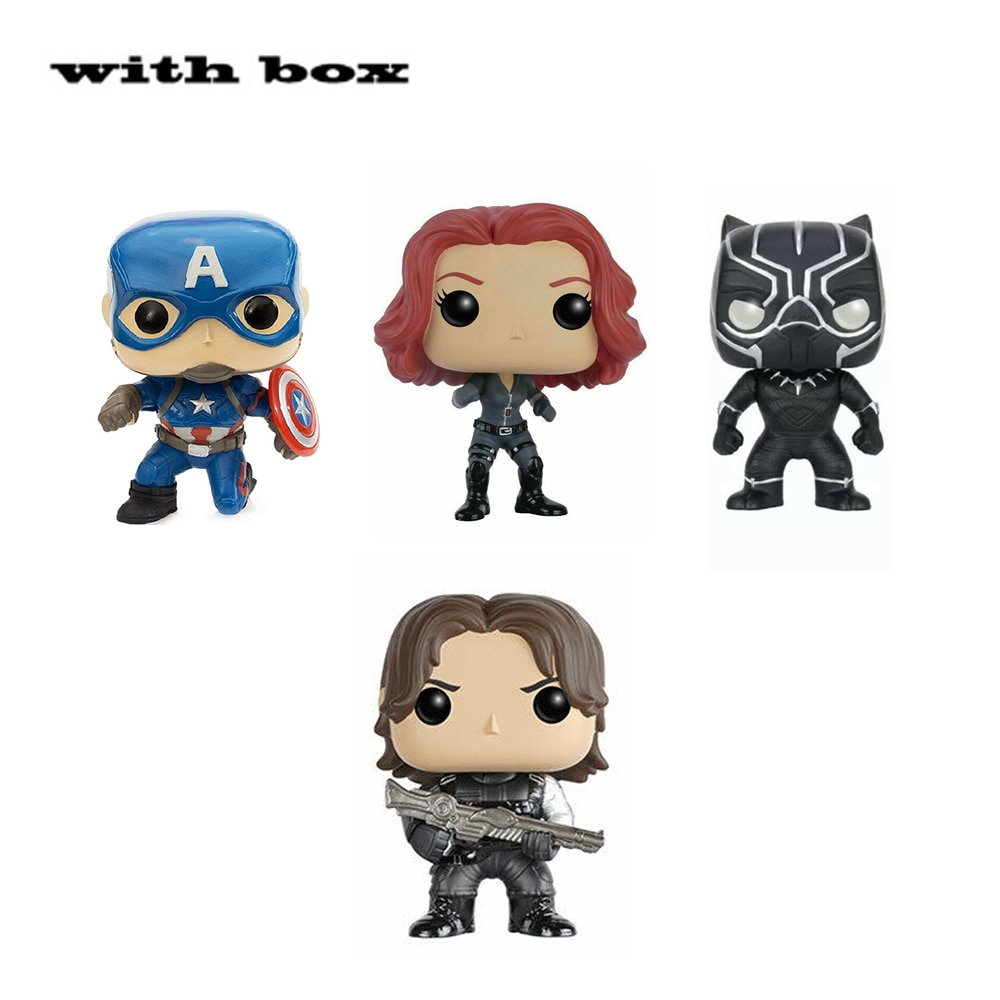 POP NEW Captain America Black widow Winter Soldier BLACK PANTHER with box Figure Toys Collection model toy for children