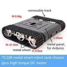 TC100 métal RC réservoir châssis Kit Smart chenille robotique éducation 2 pièces couple élevé moteur cc vitesse Feedback bricolage pour Arduino Toy