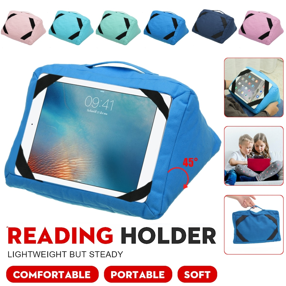 Multi-Angle Pillow Tablet Read Holder Stand Foam Lap Rest Cushion for iPad Phone Ebook Reader Pad