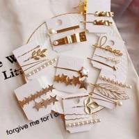 korean fashion metallic geometric hairpin imitation pearls love letter hair clip glitter star long strip duckbill barrette