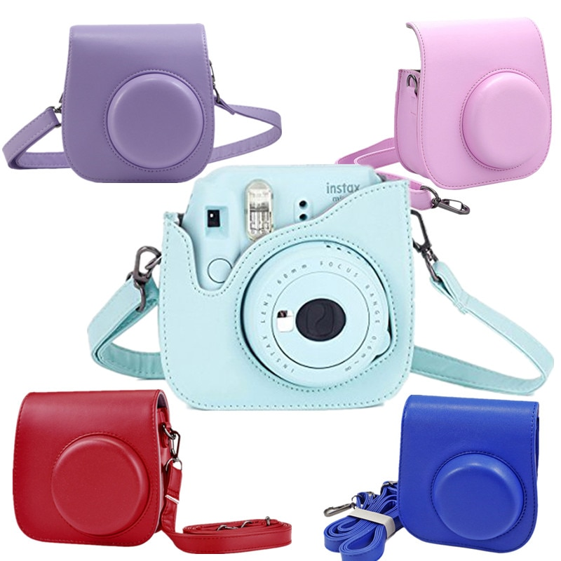 Polaróide de Couro pu para Câmera para Fujifilm 8 + 9 Capa Instax Mini Clássico Protetora Bolsa