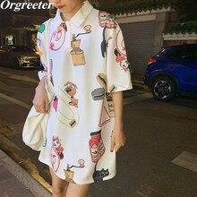 Short-sleeved T-shirt Women Summer New INS Fashion Lapel Kawaii Pattern Printted Long Tshirt Loose Casual Tees