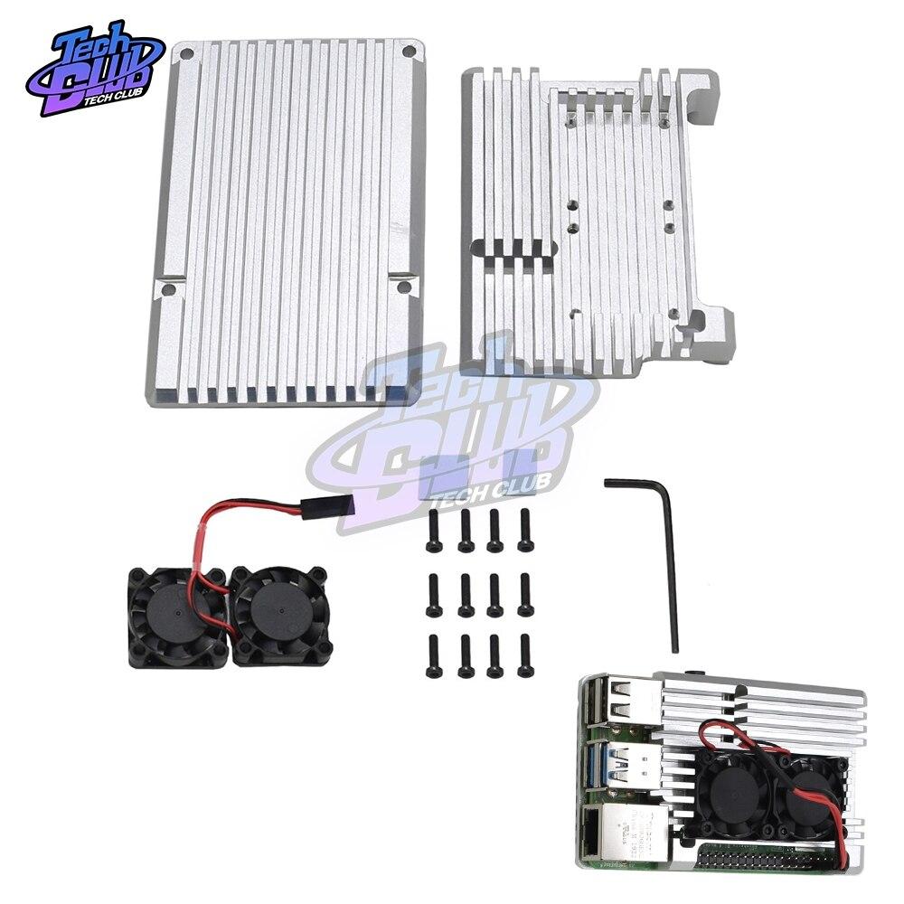 Para Raspberry Pi 4 CNC caja protectora carcasa de Metal carcasa aleación de aluminio negro con ventiladores de refrigeración de destornillador