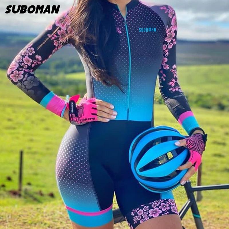 مجموعة ملابس رياضية خارجية من ملابس رياضية للترياتلون من سوبومان لعام 2021 قميص من قطعة واحدة بذلة نسائية من Macaquinho Ciclismo Feminino