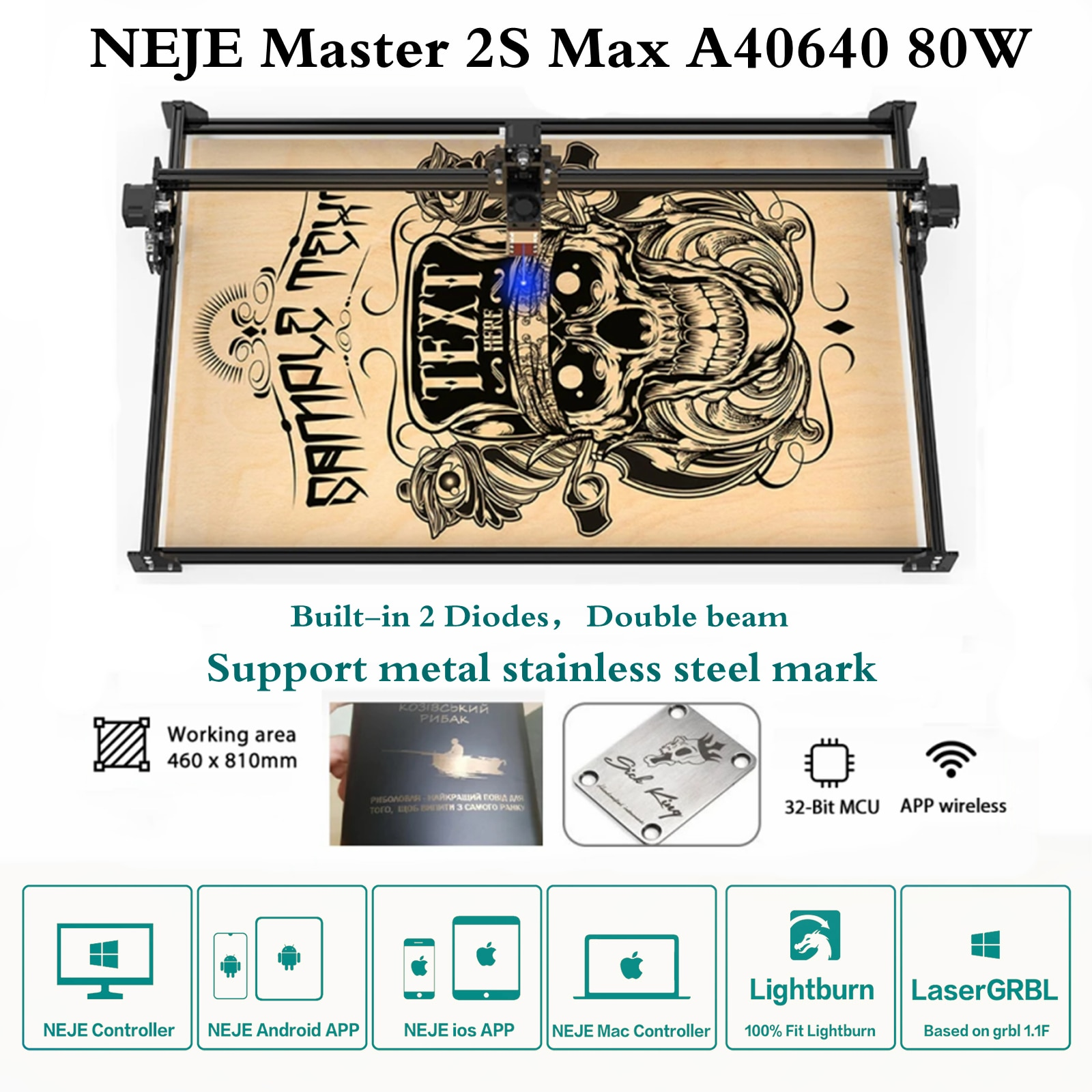 NEJE Master 2S Max 80W A40640 CNC Laser Engraver Cutting Engraver for Metal Stainless steel Mark with App Control Lightburn