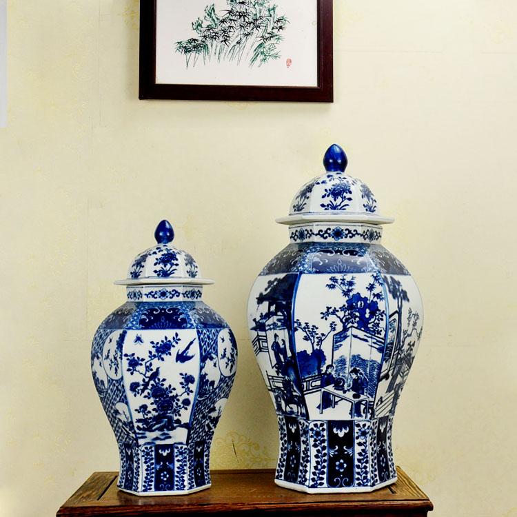 وعاء تخزين خزفي, مزهرية باللونين الأزرق والأبيض بتصميم صيني عتيق للزينة المنزلية