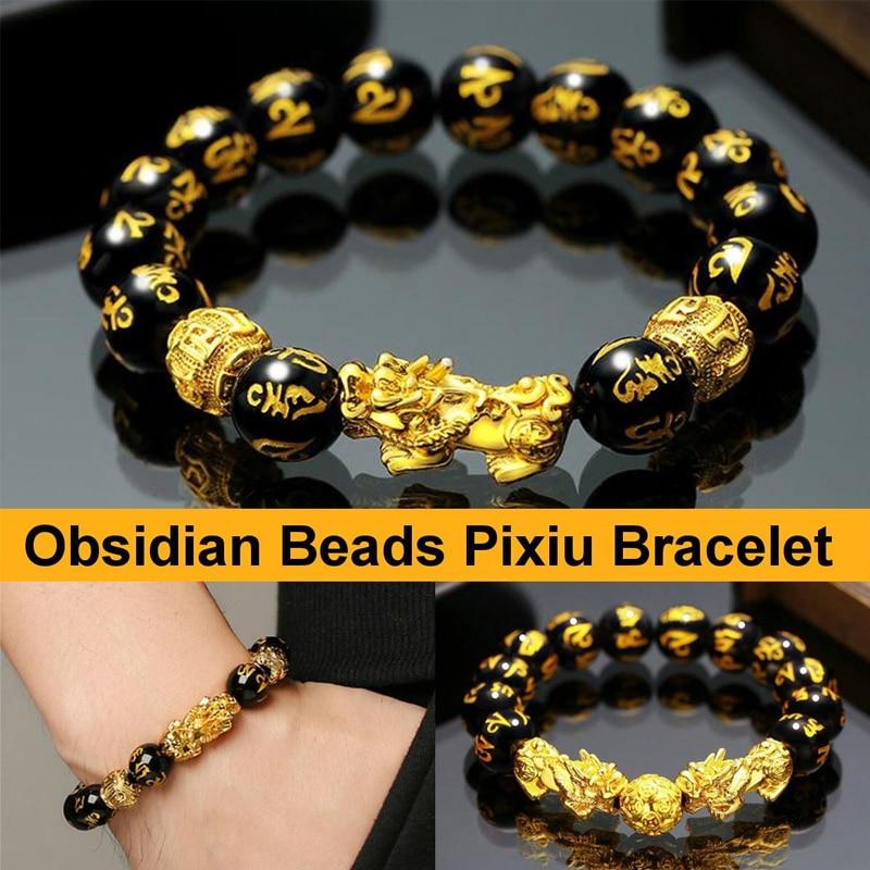 24 Styles Feng Shui Obsidian Stone Beads Bracelet Men Women Unisex Wristband Gold Black Pixiu Wealth
