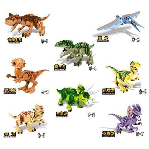 Para bloquear jurássico dinossauro figuras parque animais blocos de construção dinossauro tyrannosaurus com lockings jurássico dinossauros kit