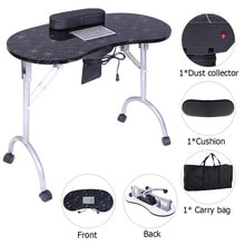 Portable Manicure Table Spa Beauty Salon Equipment Folding Nail Desk with Dust Collector & Cushion &