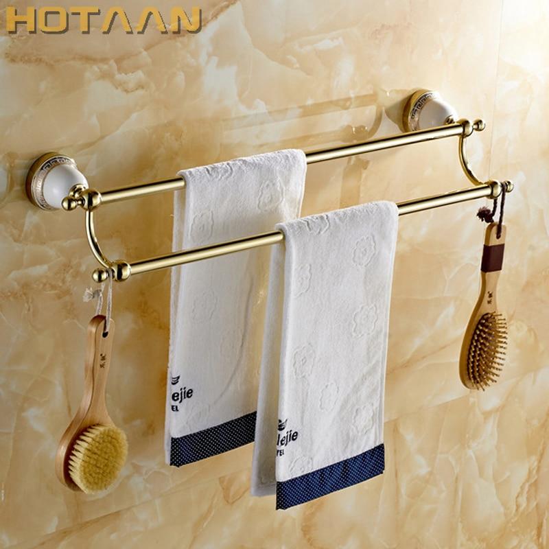 حار بيع ، الذهب حامل منشفة الحمام ، شريط منشفة مزدوجة ، منشفة الرف ، 60 سنتيمتر الصلبة النحاس منشفة رف مع السنانير