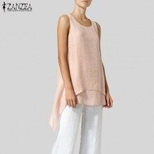 Camicetta asimmetrica da donna Blusas camicie femminili eleganti canotte solide ZANZEA 2021 Top a tunica Camis senza maniche Casual