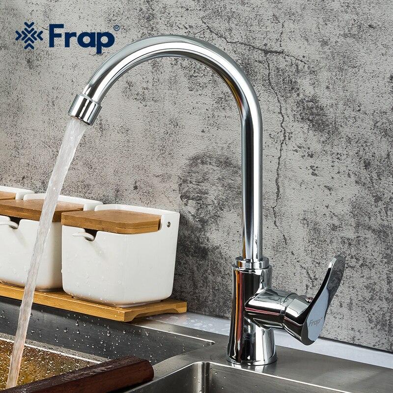 Frap-صنبور مطبخ من الفولاذ المقاوم للصدأ بمقبض واحد ، صنبور حوض مطبخ حديث للمياه الساخنة والباردة F40501