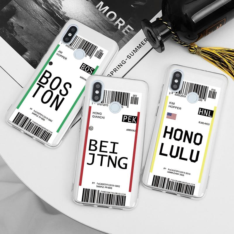 Funda de teléfono Air Ticket Label Letter para Xiaomi Mi A1 A2 A3 5X 6X CC9 9 Lite SE 9T Pro Note 10, funda transparente de TPU suave para viaje