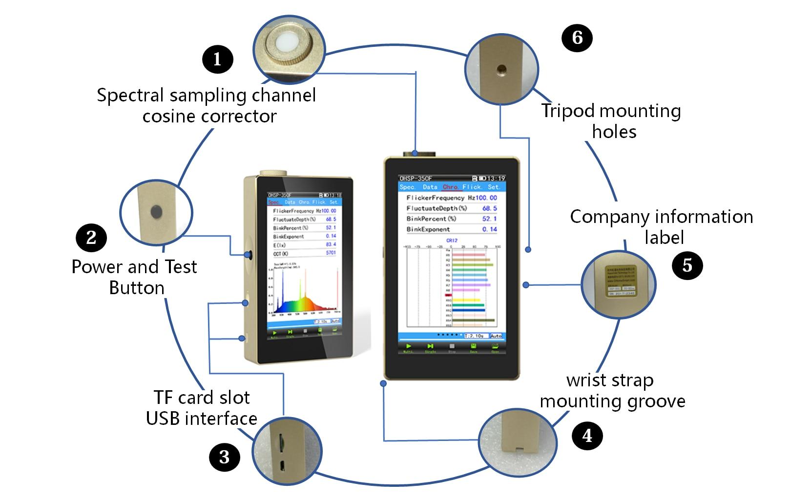 مقياس الطيف المحمول ، جهاز اختبار الضوء OHSP350C CCT CRI Lux