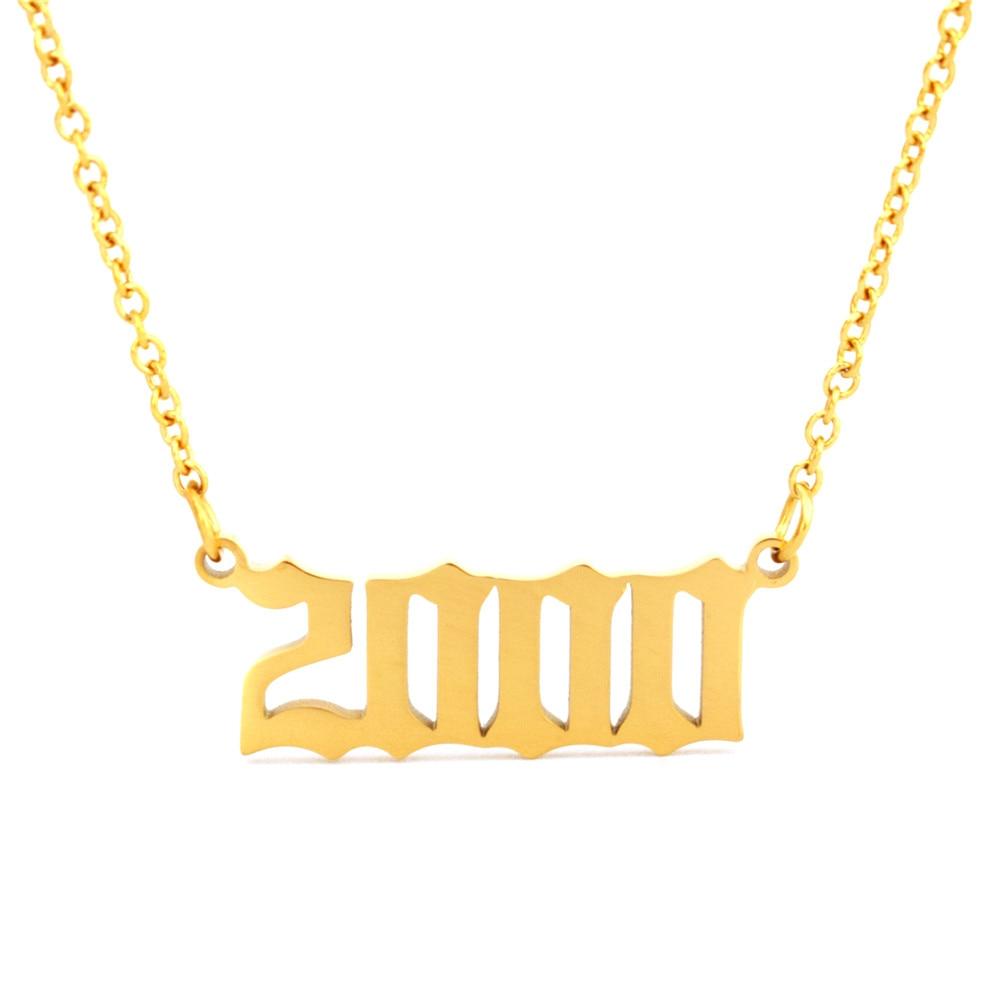 Collares de año de oro Número Fecha de nacimiento collar joyería 2000 2001 2002 2003 2004 2005 collar mujer bf