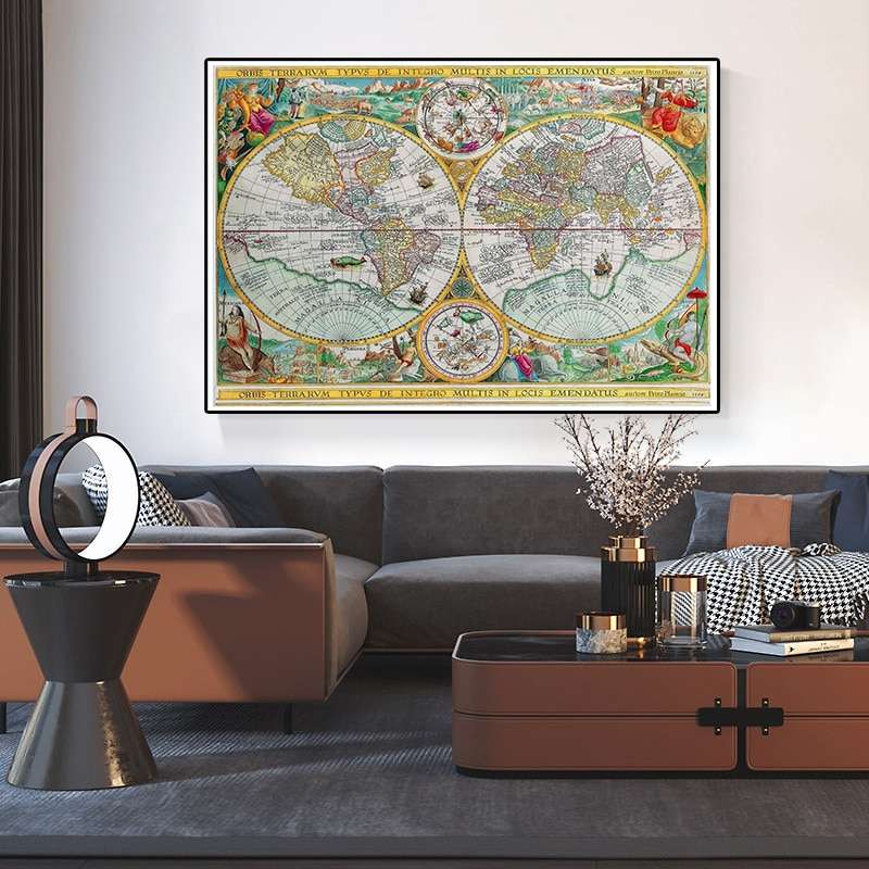 magic world map wallpaper wall stickers for kids rooms bedroom sticker painting poster home decoration accessories 1594 Latin Vintage World Map 150x100cm Non-woven Canvas Painting Decorative Globe Art Poster Wall Sticker Office Home Decoration