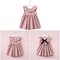 2021 kids grils solid color flying sleeves o neck ruffle high waist summer dress childrens clothes girls party wedding