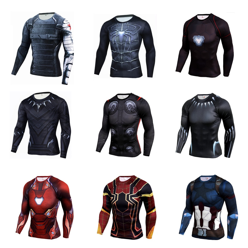 AliExpress - Marvel The Avengers Spiderman Iron Man Captain America Anime Shirt Clothing High Stretch Tights Cosplay Long Sleeve Top T-Shirt