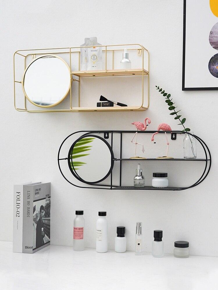 Pintura de alta temperatura nordic decorativo espelho de armazenamento rack parede pendurado oco partição ferro decorativo cosméticos armazenamento wal
