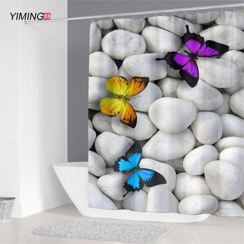 3D mariposa imprimir baño ducha cortina impermeable moho lavable cortina de poliéster cortinas de ducha, cortina de baño de