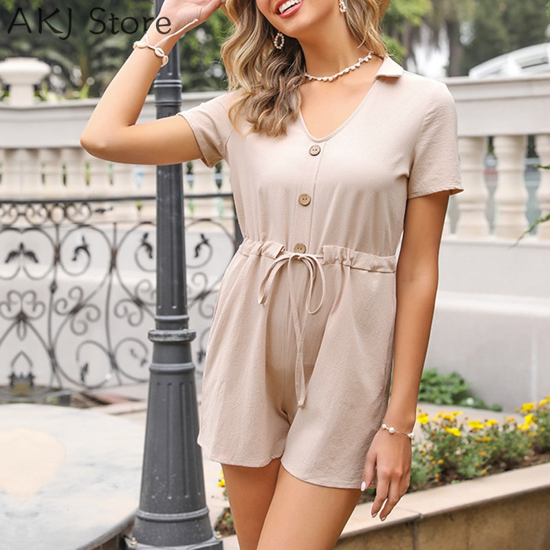 Women Casual Playsuit Solid Color Turndown Collar Short Sleeve Tied Waist Romper