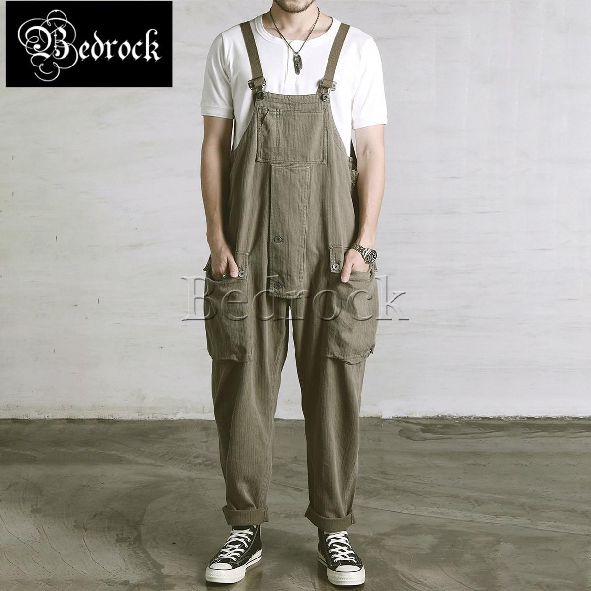 RT vintage batik washed denim overalls baggy jeans blue big pocket suspenders loose military pants 9.5oz Herringbone cargo pants