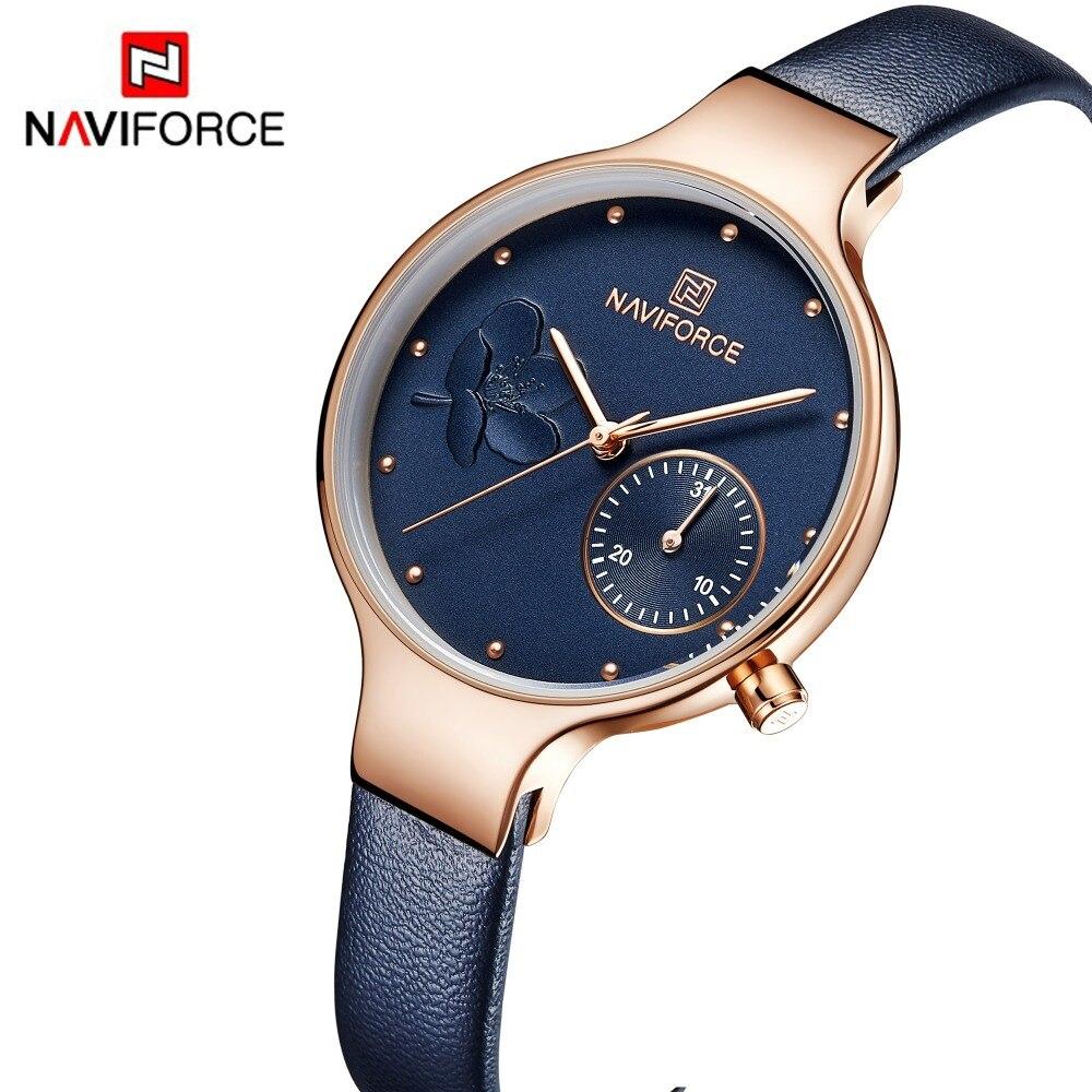 NAVIFORCE mujer moda reloj de cuarzo azul señora cuero Correa alta calidad Casual impermeable reloj de pulsera regalo para esposa