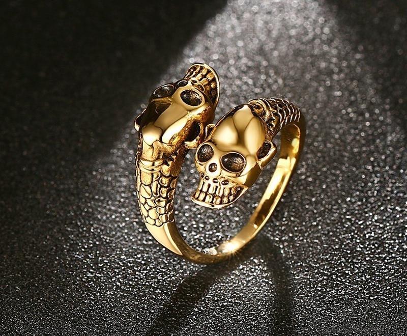 Регулируемое Винтажное кольцо с черепом в стиле панк для мужчин массивное медное сплав Байкер Рок Рэп объятия Скелет головное кольцо готические ювелирные изделия