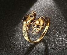 Adjustable Vintage Punk skull Ring Men Chunky Copper Alloy Biker Rock Rap Embrace Skeleton Head Ring Gothic Jewelry