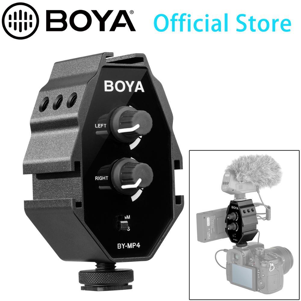 BOYA BY-MP4 2-ערוץ אודיו מתאם עם מונו וסטריאו מתג עבור iPhone 8 Canon ניקון DSLR מצלמה Sony panasonic למצלמות