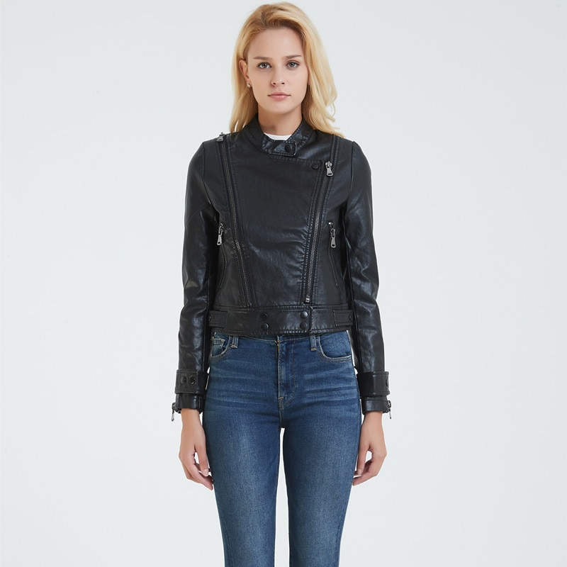2019 new Women Leather Jacket lapel short Slim biker jacket PU jacket Faux Leather Leather Jacket Fur Women Perfecto Femme enlarge