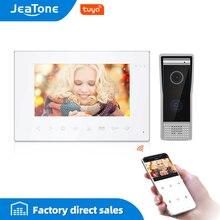 JeaTone-système dinterphone vidéo intelligent Tuya, wi-fi, couleur blanche, avec écran de 7 pouces, interphone vidéo avec sonnette filaire déverrouillage à distance, contrôle daccès à la maison