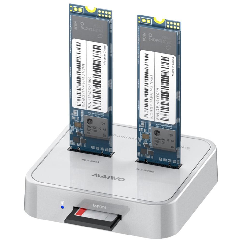 MAIWO K3016SD, MAIWO K3016SD M.2 SATA/NVMe SSD محول Docking Dual Bay 10Gbps SD قارئ بطاقة محطة الحالة الصلبة حاوية محرك الولايات المتحدة/الاتحاد الأوروبي